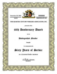 QCWA 60th Anniversary Award award