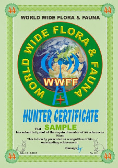 WWFF REFERENCES Hunters award